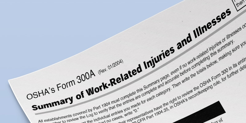 OSHA injury log filing in effect